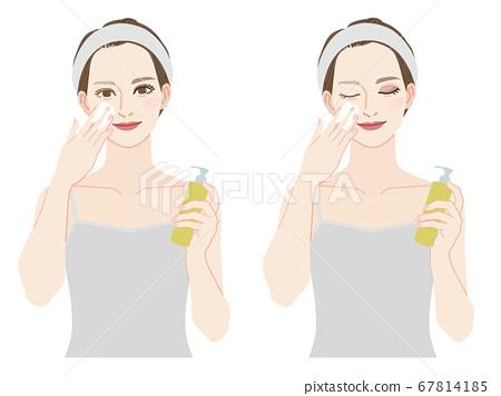 클렌징으로 화장을 지울 여성 포인트 메이크업 클렌징 67814185