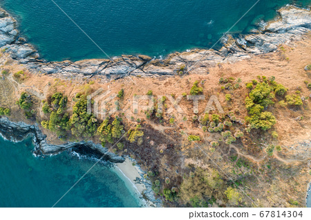 Amazing Aerial view drone shot top down landscape 67814304