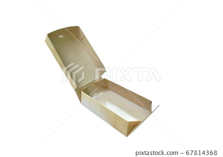 brown hard paper box opening cover arranging on white background 67814368