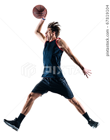 basketball player man isolated silhouette shadow 67819104