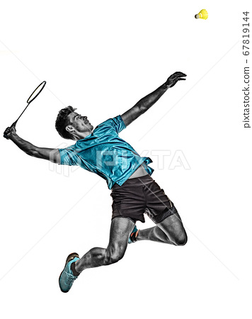 Badminton player young man isolated white background 67819144