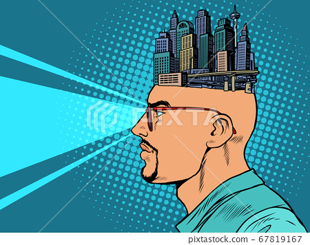 the man and the city skyscrapers, urban planner or architect 67819167