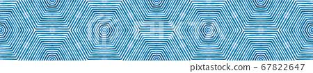 Blue Seamless Border Scroll. Geometric Watercolor  67822647