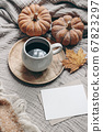 Fall styled composition. Autumn breakfast still life. Blank greeting card mock-up scene with cup of coffee, wool blanket, maple leaf and pumpkins. Cotton table cloth background. Thanksgiving. Vertical 67823297
