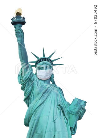 Statue of Liberty with protective face mask. 67823492