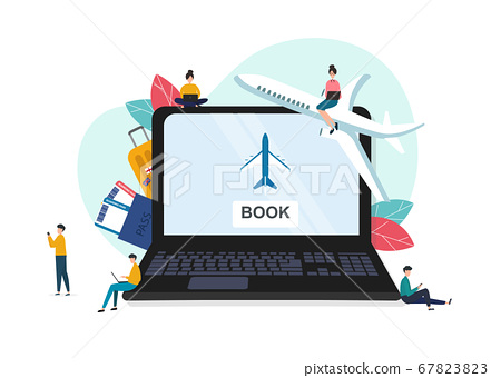 Vector illustration of pc with booking web site on screen 67823823