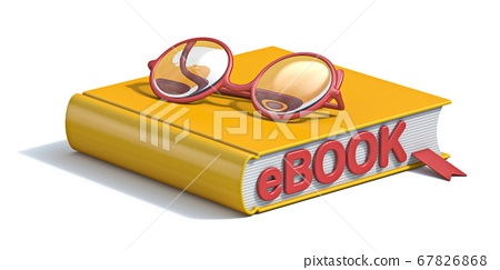 eBook concept yellow book with eyeglasses 3D 67826868