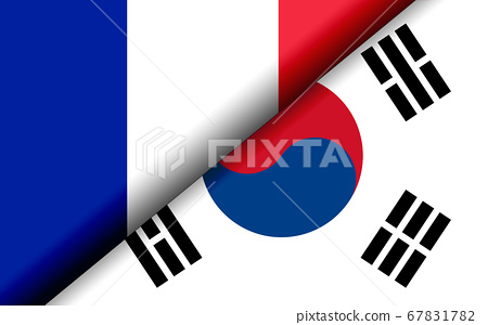 Flags of the France and South Korea divided 67831782