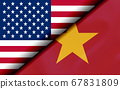Flags of the USA and Vietnam Divided Diagonally 67831809