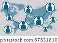 Social network on blue world map background 67831810