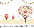 秋天的心樹_景觀_水彩背景 67831819