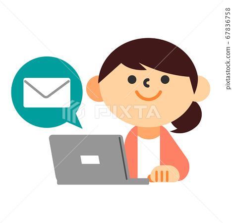 人女性家庭主婦PC上身電子郵件 67836758
