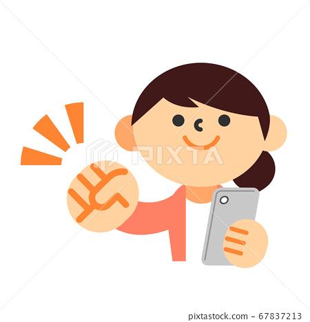 人女人家庭主婦智能手機上半身膽姿勢支持 67837213