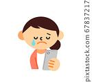 人女人家庭主婦智能手機上半身哭 67837217