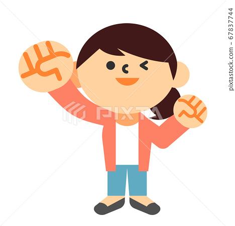 인물 여성 주부 전신 승리의 포즈 응원 67837744