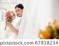 웨딩 드레스를 입은 여성의 초상화 67838234