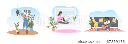 set woman using laptop taking care of houseplants man learning to play guitar stay home concept 67839176