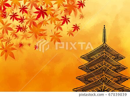 秋天的落葉和五層寶塔背景素材 67839839