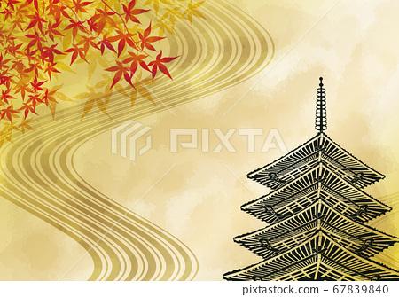 秋天的落葉和五層寶塔背景素材 67839840