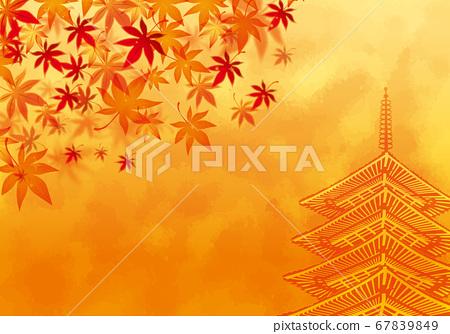秋天的落葉和五層寶塔背景素材 67839849