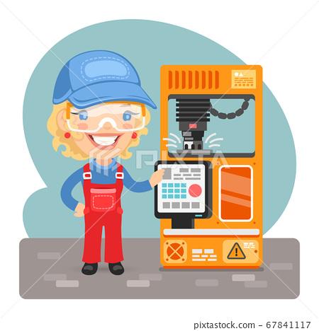 Cartoon Milling Machine Worker 67841117