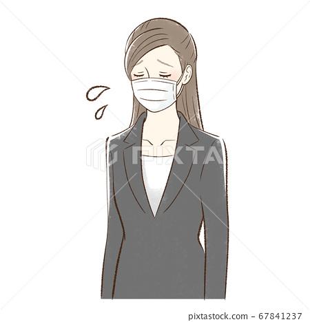 마스크를 붙인 아파하는 여성 67841237
