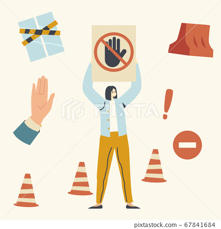 Female Character Holding Stop Signal with Crossed Hand, Woman Protect Closed Territory. Car Parking Problem, No Passage 67841684