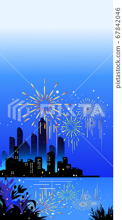 Fireworks and night view of the waterfront 67842046