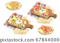 Pancakes and fried food watercolor hand drawn illustration 67844000