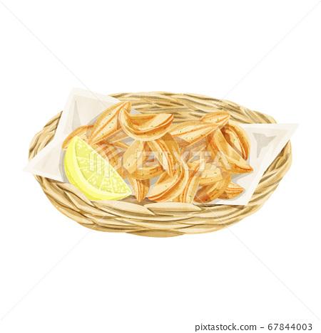 바구니에 들어간 감자 튀김 수채화 손으로 그린 일러스트 67844003