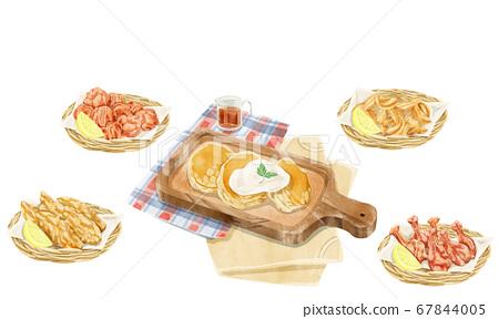 煎餅和油炸食品水彩手繪插圖 67844005