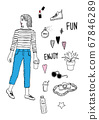 時尚雜誌風格的女性插畫 67846289