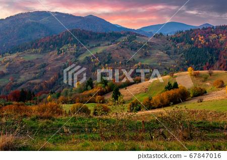 autumnal rural landscape at dusk. beautiful 67847016