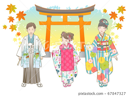 Shichigosan手繪矢量插圖集 67847327