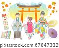 Shichigosan手繪矢量插圖集 67847332