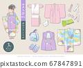 七go山和服(3歲女孩)矢量圖的敷料一套 67847891