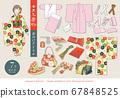 七七山和服(7歲女孩)矢量圖的敷料一套 67848525