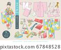 七七山和服(7歲女孩)矢量圖的敷料一套 67848528
