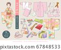 七七山和服(7歲女孩)矢量圖的敷料一套 67848533