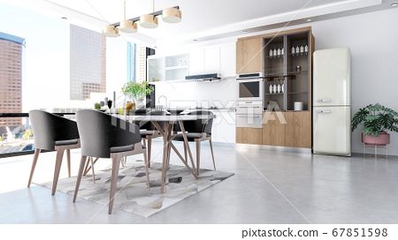 Modern contemporary stylish kitchen room interior, 3D Rendering  67851598