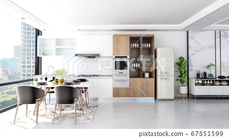 Modern contemporary stylish kitchen room interior, 3D Rendering  67851599