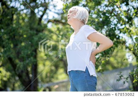 Senior woman having sudden and severe back pain 67853002