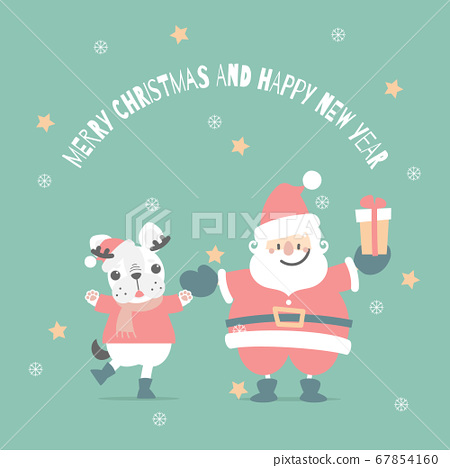merry christmas and happy new year with santa claus and cute french bulldog in the winter season green background 67854160