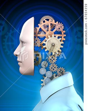 Human head and gears 67854359