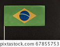 Flag of Brazil on black background. Ordem e 67855753