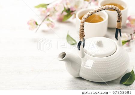 Chinese Tea Set and pink sakura blossom 67858693