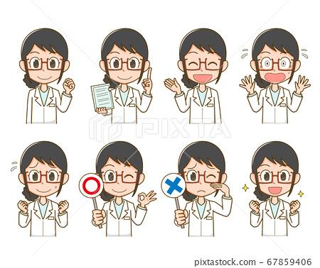 一件白大褂的醫學女人 67859406