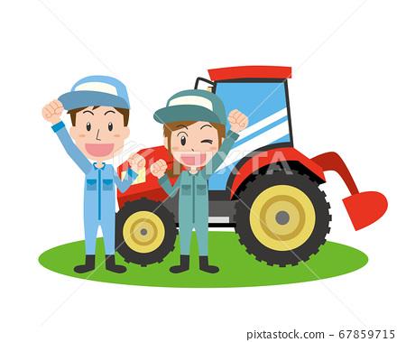 男人和女人用拖拉機做農場工作 67859715