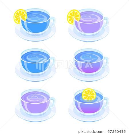 蝴蝶豌豆孤立在白色背景上的插圖 67860456