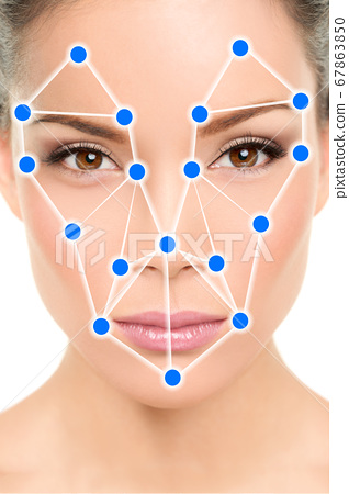 Biometric facial recognition software app technology for face identity verification identification concept. Asian woman portrait with scan illustration graphic design 67863850
